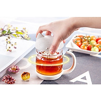 Bộ ly thủy tinh pha trà có nắp hình mèo, túi lọc trà bằng lúa mạch - Chính hãng