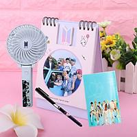 Combo lịch để bàn BTS quạt sạc mini BTS tặng kèm bút in hình BTS sổ tay BTS