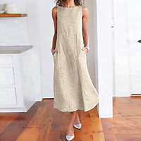 Women Plus Size Dress Linen Retro Print O Neck Sleeveless Side Pockets Summer Casual Maxi Party Beach Dress