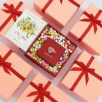 Hộp quà, hộp quà tặng sang trọng màu đỏ 12*12*5cm