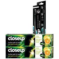 Combo 2 KĐR Closeup dâu quất và thảo dược 180g + 1 Bàn chải Closeup Precision (màu ngẫu nhiên)