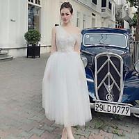 Đầm dự tiệc công chúa lệch vai lưới kết hoa nổi siêu xinh TRIPBLE T DRESS - size M/L (kèm ảnh/video thật) MS200V