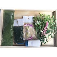 Bộ kit nhỏ làm mô hình nhà handmade , bộ gồm bột cỏ , rêu , cây xanh giúp trang trí mô hình nhà  bằng que kem