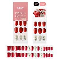 Bộ 30 Móng Tay Gel Tự Dán Press & Go Kiss New York Nail Box - Holiday Red (KPNS04K)