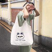 XU HƯỚNG TRẺ_ Túi Tote, Túi Bầu In Gấu Happy Time Vải Canvas Đeo Vai Xinh Xắn Siêu Cute