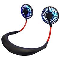 Quạt cầm tay USB mini đeo cổ kiểu dáng thể thao dành cho người lười hoặc tập GYM loại quạt 7 cánh có đèn LED