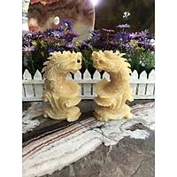 Cặp cá Chép hóa Rồng phong thủy đá ngọc hoàng long - Cao 15 cm