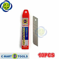 Lưỡi dao rọc giấy C-Mart A0041C 7 rãnh 10 lưỡi/hộp 100 X 18 X 0.5mm