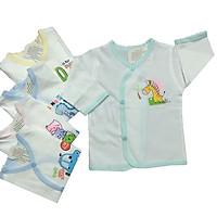 Combo 5 áo sơ sinh cotton tay dài cài xéo trắng, chất vải mềm mại, thấm hút mồ hôi, thoáng mát, hàng chất lượng cao