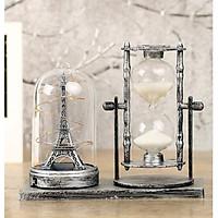 Mô hình tháp Eiffel có đèn phát sáng kèm đồng hồ cát trang trí phong cách Châu Âu sang trọng, hiện đại - vật dụng trang trí, quà tặng ý nghĩa
