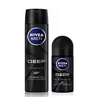 Bộ Đôi Xịt ngăn mùi NIVEA MEN Deep than đen hoạt tính 150ml và Lăn ngăn mùi NIVEA MEN Deep than đen hoạt tính 50ml