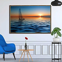 Tranh canvas phong thủy treo tường - Thuận buồm xuôi gió - TBXG006 - Khung hoa văn viền mỏng - 120x80cm