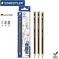 Hộp 12 bút chì Staedtler 120-HB (bút Đức sọc vàng đen đầu đỏ)