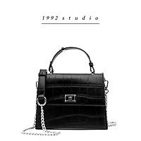 Túi xách nữ / 1992 s t u d i o/ FANNY BAG/ màu đen dây da phối xích đeo chéo 3 ngăn