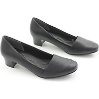 Giày Cao Gót 4cm Da Bò Thật Mũi Vuông Màu Đen Pixie P234