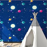 Giấy dán tường hành tinh xanh có keo sẵn khổ rộng 45cm, giấy decal dán tường phòng ngủ cho bé