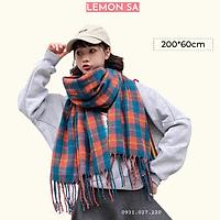 Khăn len mùa đông caro cam xanh - Mã LE01005