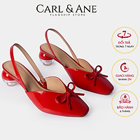 Giày cao gót Erosska thời trang mũi nhọn phối dây đính nơ xinh xắn gót tròn cao 5cm CL002