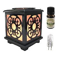 Combo tinh dầu sả chanh Eco oil 10ml cùng đèn xông tinh dầu gỗ size L AH43 và 1 bóng đèn