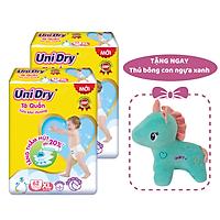 Combo 2 gói Tã quần em bé siêu khô thoáng UniDry size XL62 - Tặng 1 thú bông con ngựa xanh