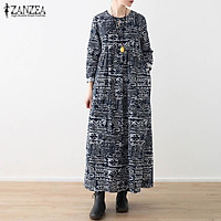 Đầm Baggy Tay Dài Có Túi Họa Tiết Thổ Cẩm Lạ Mắt (Thương Hiệu ZANZEA)