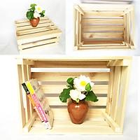 Combo 3 Thùng gỗ Pallet 3 size S-M-L [D30-50xR20-40xC16-20cm] đựng đồ trang trí homestay- Kệ decor đa năng