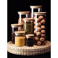 Hũ gia vị thủy tinh nắp gỗ phong cách Bắc Âu,lọ thủy tinh, hũ đựng bột đường, cà phê, đồ khô, mỳ ý- có gioăng cao su kín khí