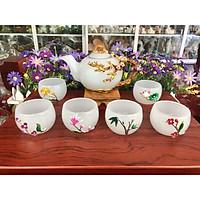 Bộ ấm trà chạm hoa mai đá bạch ngọc