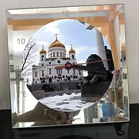 Đồng hồ thủy tinh vuông 20x20 in hình Cathedral Of Christ the saviour (4) . Đồng hồ thủy tinh để bàn trang trí đẹp chủ đề tôn giáo