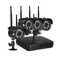 Bộ Máy Quay An Ninh CCTV Nhìn Xuyên Đêm Wifi Không Dây Chống Nước Hỗ Trợ P2P KKmoon (1080p) (4 Kênh) (4 Cái) (H.265/H.264/H265+)