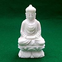Tượng Phật Thích Ca Mâu Ni Non Nước Ngồi Tọa Thiền Trên Đài Sen + Đế Bằng Đá Cẩm Thạch Đẹp Tự Nhiên Nguyên Khối Màu Trắng - để bàn, để xe hơi, ô tô, để thờ, trang trí tiểu cảnh, trang trí phòng làm việc