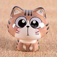 Tượng trang trí gốm sứ mèo kute 6x6,5cm