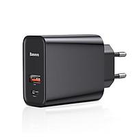 Adapter Cốc củ sạc nhanh 2 cổng PD Type-C 30w & USB hiệu Baseus Quick Charge 3.0 cho Smartphone / Macbook / Máy tính bảng (Sạc nhanh QC 3.0 ,cổng PD 3.0, 30W) - hàng chính hãng