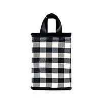 Túi giữ nhiệt kiểu đứng caro trắng đen bản lớn