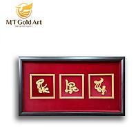 Tranh chữ Phúc – Lộc – Thọ Thư Pháp dát vàng 24k( 50x90cm) MT Gold Art- Hàng chính hãng, trang trí nhà cửa, phòng làm việc, quà tặng sếp, đối tác, khách hàng, tân gia, khai trương