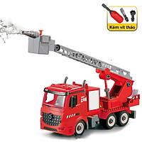 Bộ đồ chơi lắp ghép xe thang cứu hỏa KAVY có nhạc và đèn loại thang trượt phun nước, đẹp và bền bỉ nhựa nguyên sinh an toàn
