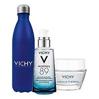 Bộ Sản Phẩm Dưỡng Chất Giàu Khoáng Chất Vichy Mineral 89 (50ml) + Kem Dưỡng Vichy Aqualia (15ml) Và Bình Đựng Nước Vichy