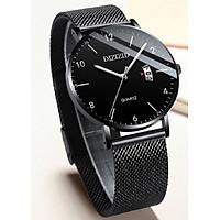 Đồng hồ nam đeo tay DIZIZID dây thép lưới mặt mỏng chạy lịch ngày cao cấp ZID3N