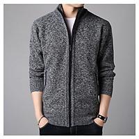 Áo khoác len nam cổ trụ trần bông, thời trang trẻ, phong cách Hàn Quốc, hàng nhập Quảng Châu