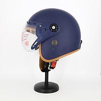 Mũ Bảo Hiểm Có Kính 3/4 Đầu 368k Lót Màu Cao Cấp – Màu Xanh Đen Lót Nâu Kính Trong _ Chống bụi, chống nắng đi được cả ban đêm