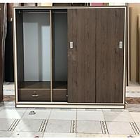 Tủ áo mở lùa ngang 1m6 x Cao 1m85 x Sâu 50 cm (nâu gỗ)
