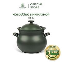 Nồi sứ dưỡng sinh Minh Long - Hathor 5.5 L + nắp dùng cho bếp gas, bếp hồng ngoại