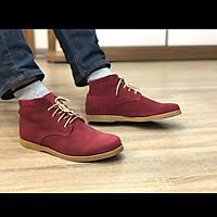 Giày nam cao cổ buộc dây da bò lộn cao cấp màu đỏ đô DarkRed 1929 Sr7 - Giày boots nam cổ thấp buộc dây