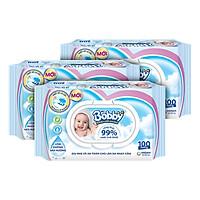Combo 3 gói Khăn giấy ướt Bobby không mùi 100 tờ (Xanh) + Tặng 1 gói khăn ướt (xanh)