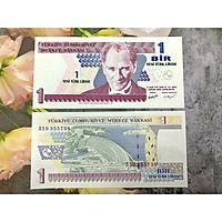 Tiền Thổ Nhĩ Kỳ 1 Lari xưa sưu tầm, tiền quốc gia Trung Đông, mới 100% UNC, tặng túi nilon bảo quản