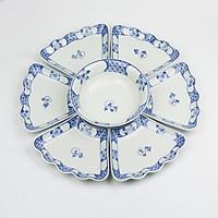 Bộ Đồ Ăn Hoa Mặt Trời Bát Tràng Men Ngọc-Khử Chì Và Kim Loại Nặng-Vẽ Hoa Chanh-55cm