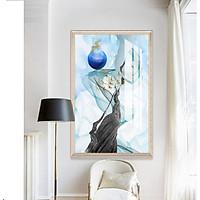Tranh treo tường phòng khách, phòng ngủ -Tranh treo 1 tấm dọc M26465/ Gỗ MDF cao cấp phủ kim sa/ Chống ẩm mốc, mối mọt/Bo viền góc tròn