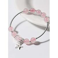 Vòng tay đá thạch anh hồng phối charm ngôi sao 5 cánh mệnh hỏa, thổ - Ngọc Quý Gemstones
