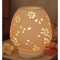 Đèn xông tinh dầu gốm hoạ tiết nhiều bông hoa Daisy