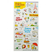 Bộ 6 tấm sticker trang trí Bonjour Cochonn Ver 1